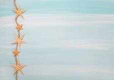 热带夏天:与壳的蓝色或绿松石木背景 库存照片
