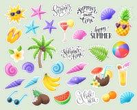 热带夏天贴纸 库存例证