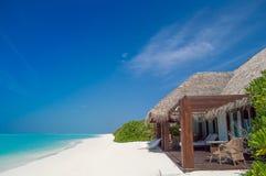 热带天堂在马尔代夫海岛 库存照片