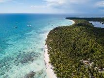 热带天堂海岛Saona有绿松石水、白色沙子海滩和棕榈 库存照片