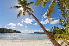 热带天堂玻利尼西亚海滩海洋海水晶水明白沙子 图库摄影
