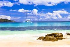 热带天堂-塞舌尔群岛海岛 库存照片
