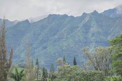 热带山脉在一多云天 免版税库存图片