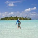热带库克群岛的天堂 库存图片