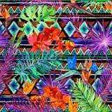 热带异乎寻常的叶子,兰花开花,霓虹灯 无缝的模式 水彩 库存照片