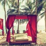 热带手段的浪漫眺望台休息室 在棕榈中的海滩床 免版税库存图片