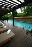 热带旅馆园艺的池手段的游泳 图库摄影