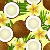热带无缝的样式用椰子,花 库存照片