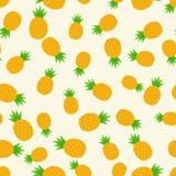 热带时髦无缝的样式用菠萝 健康的食物 果子夏天样式,设计的五颜六色的印刷品 图库摄影