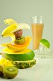 热带果子的圆滑的人 免版税库存照片