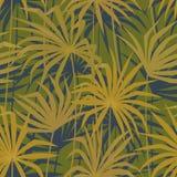 热带棕榈叶无缝的样式 热带密林爱好者叶子背景 皇族释放例证