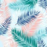 热带棕榈叶的无缝的样式 也corel凹道例证向量 平的设计 免版税库存图片