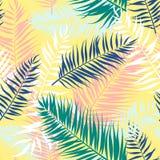 热带棕榈叶的无缝的样式 也corel凹道例证向量 平的设计 库存照片