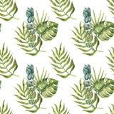 热带棕榈叶的无缝的样式 库存图片