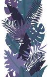 热带棕榈叶黑暗的无缝的边界  免版税库存图片