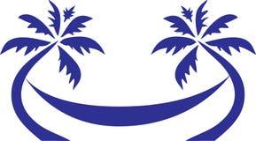 热带棕榈树旅行商标 库存图片
