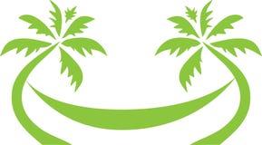 热带棕榈树旅行商标 图库摄影