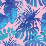 热带棕榈,香蕉在蓝色样式离开 免版税库存图片