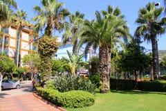 热带植被在阿塔图尔克阿拉尼亚,土耳其100th周年的公园  库存图片