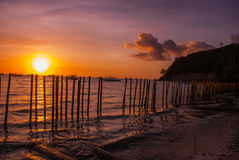 热带横向的日落 篱芭和海 使白色靠岸 博拉凯 菲律宾 免版税库存图片