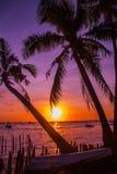 热带横向的日落 背景掌上型计算机天空结构树 使白色靠岸 博拉凯 菲律宾 免版税库存图片