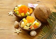 热带水果水果沙拉  免版税图库摄影