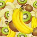 热带水果的无缝的样式 免版税库存图片