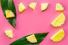 热带水果背景 在大叶子前面的Pinneapple切片在桃红色背景顶视图copyspace 免版税图库摄影