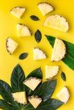 热带水果背景 在小和大叶子前面的Pinneapple切片在黄色背景顶视图 免版税库存图片