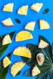 热带水果背景 Pinneapple和鳄梨片,在蓝色背景顶视图的大叶子 免版税库存照片