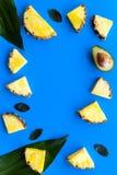 热带水果背景 Pinneapple和鳄梨片,在蓝色背景顶视图copyspace的大叶子 免版税库存图片