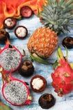 热带水果:菠萝、pitahaya和山竹果树在蓝色背景,顶视图 免版税图库摄影