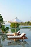 热带池的游泳 免版税库存照片