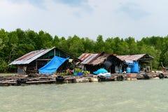 热带河的浮游物渔村 库存照片