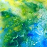 热带海。抽象水彩背景 库存照片