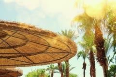 热带海和沙滩伞 夏天旅行和假期概念 库存图片