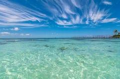 热带海在Isla Mujeres,墨西哥 免版税库存照片