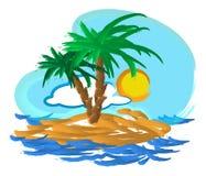 热带海岛例证 免版税图库摄影