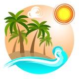 热带海岛在事假和海滩表明去 库存照片