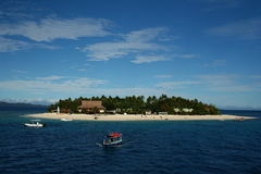 热带海岛在斐济,南太平洋 免版税库存照片