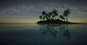 热带海岛在晚上 库存例证