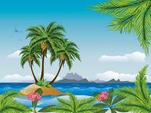 热带海岛在海洋 库存例证