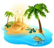 热带海岛天堂海滩 棕榈树,沙子城堡,飞翅,海龟 库存例证