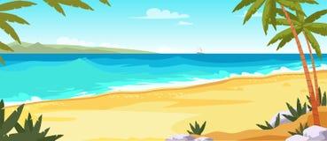 热带海岛平的传染媒介彩色插图 皇族释放例证