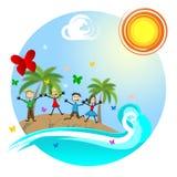 热带海岛手段在事假和孩子去 免版税库存照片