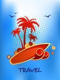 热带海岛旅行海报 库存图片