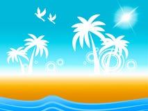 热带海岛显示在飞行中鸟和海岸线 免版税库存照片
