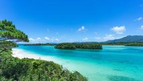 热带海岛海滩和明白蓝色盐水湖,冲绳岛,日本 免版税库存照片
