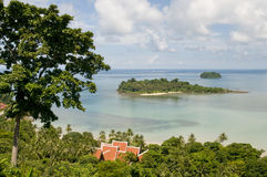 热带海岛的全景 免版税库存照片