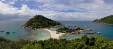 热带海岛的全景 免版税图库摄影